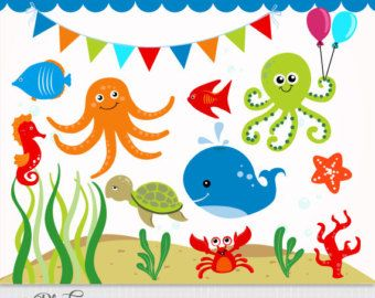 Cute Underwater Scene Clipart.