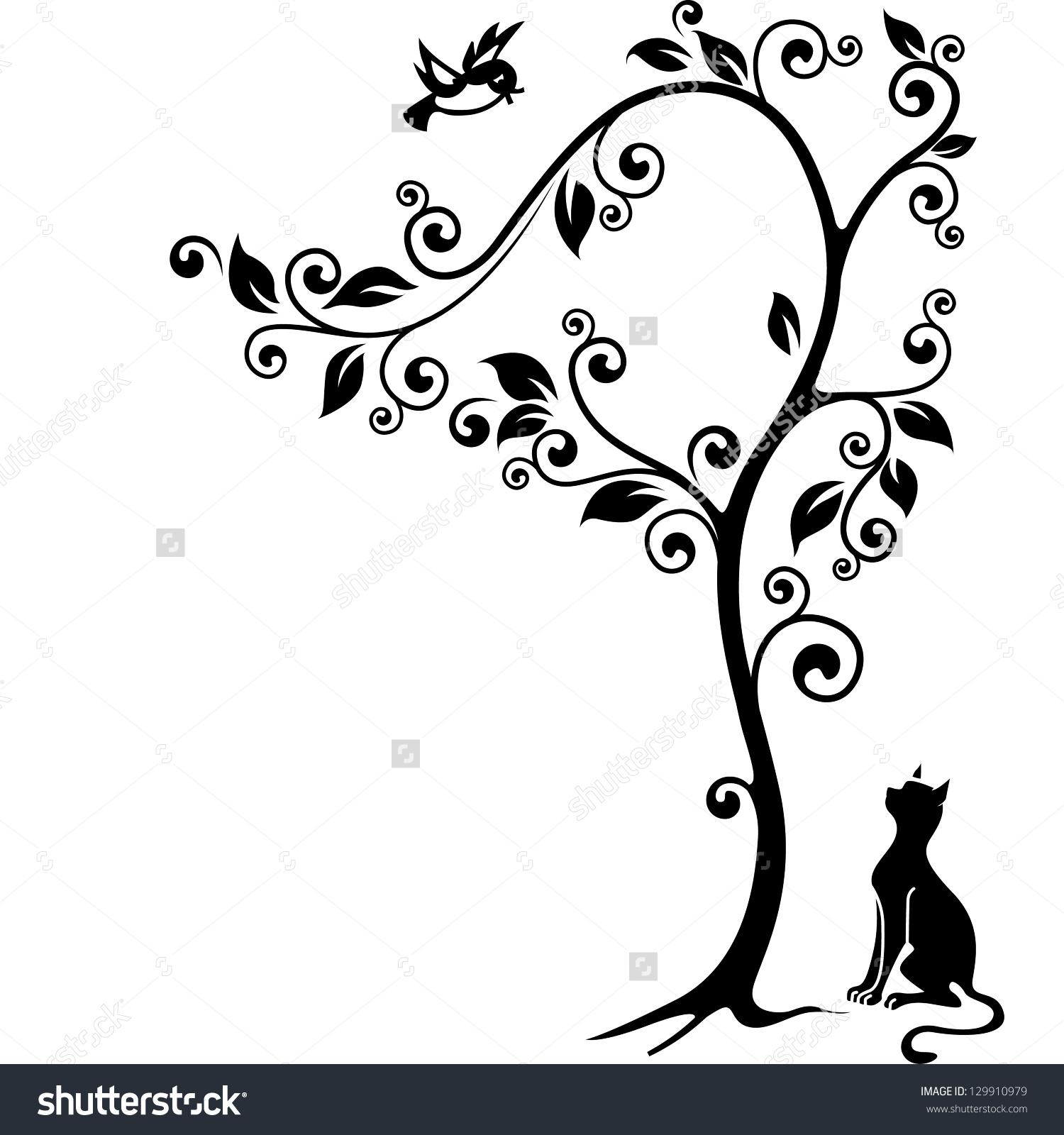 Cat Under Tree Looking Bird Blackandwhite Stock Illustration.