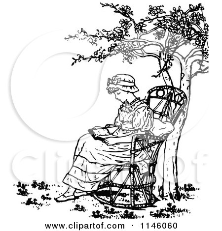 Clipart of a Retro Vintage Black and White Girl Reading Under a.