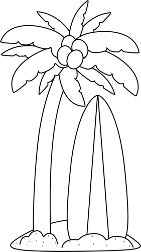 Black and White Surfboard Under a Palm Tree Clip Art.