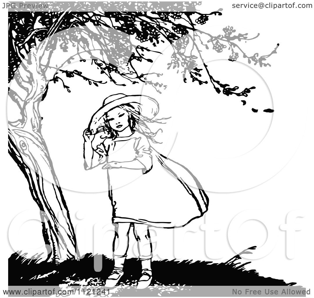 Clipart Of A Retro Vintage Black And White Girl Under A Tree.