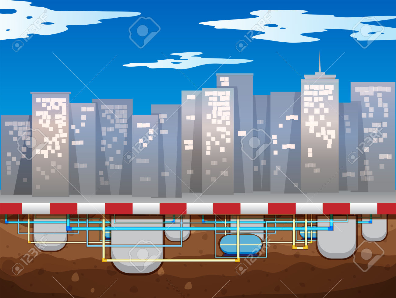 Water Pipe Underground Of The City Illustration Royalty Free.