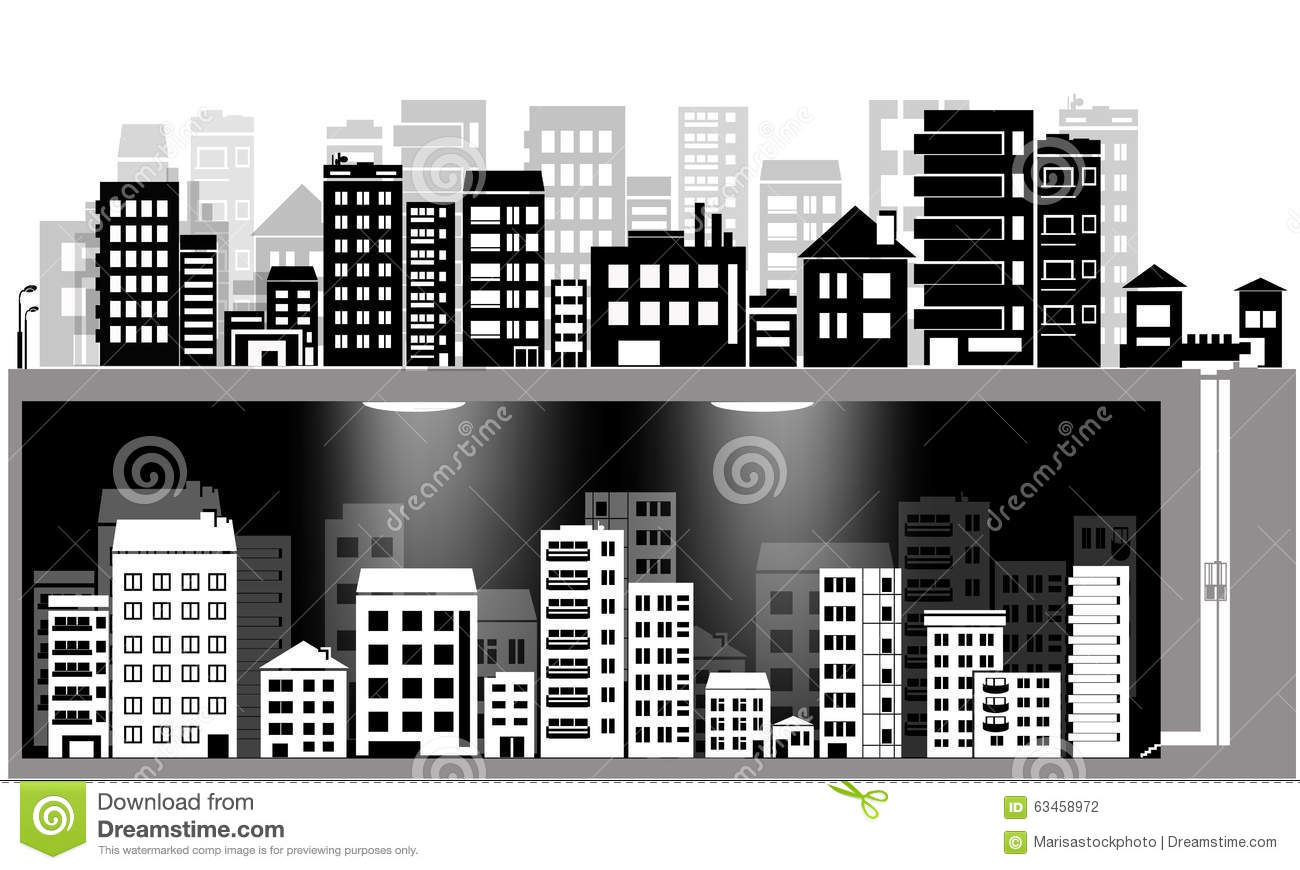 Vector City Silhouette Set And Underground City Stock Vector.