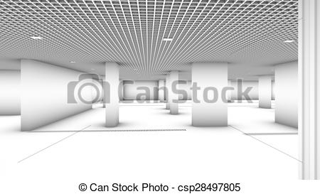 Stock Illustration of Underground garage parking without cars.