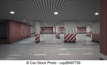 Drawings of Underground garage parking without cars.