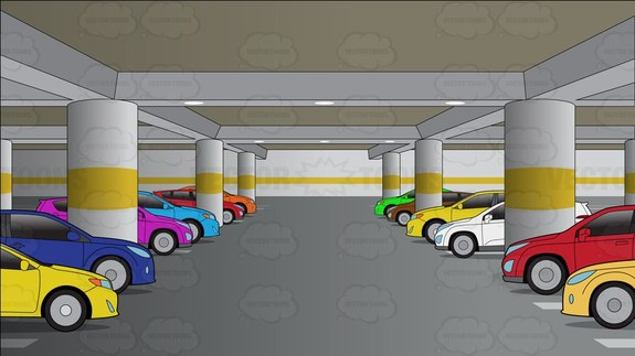 An Underground Parking Lot Filled With Cars Background Cartoon Clipart.