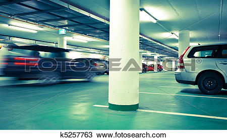 Stock Photo of underground parking/garage (color toned image.