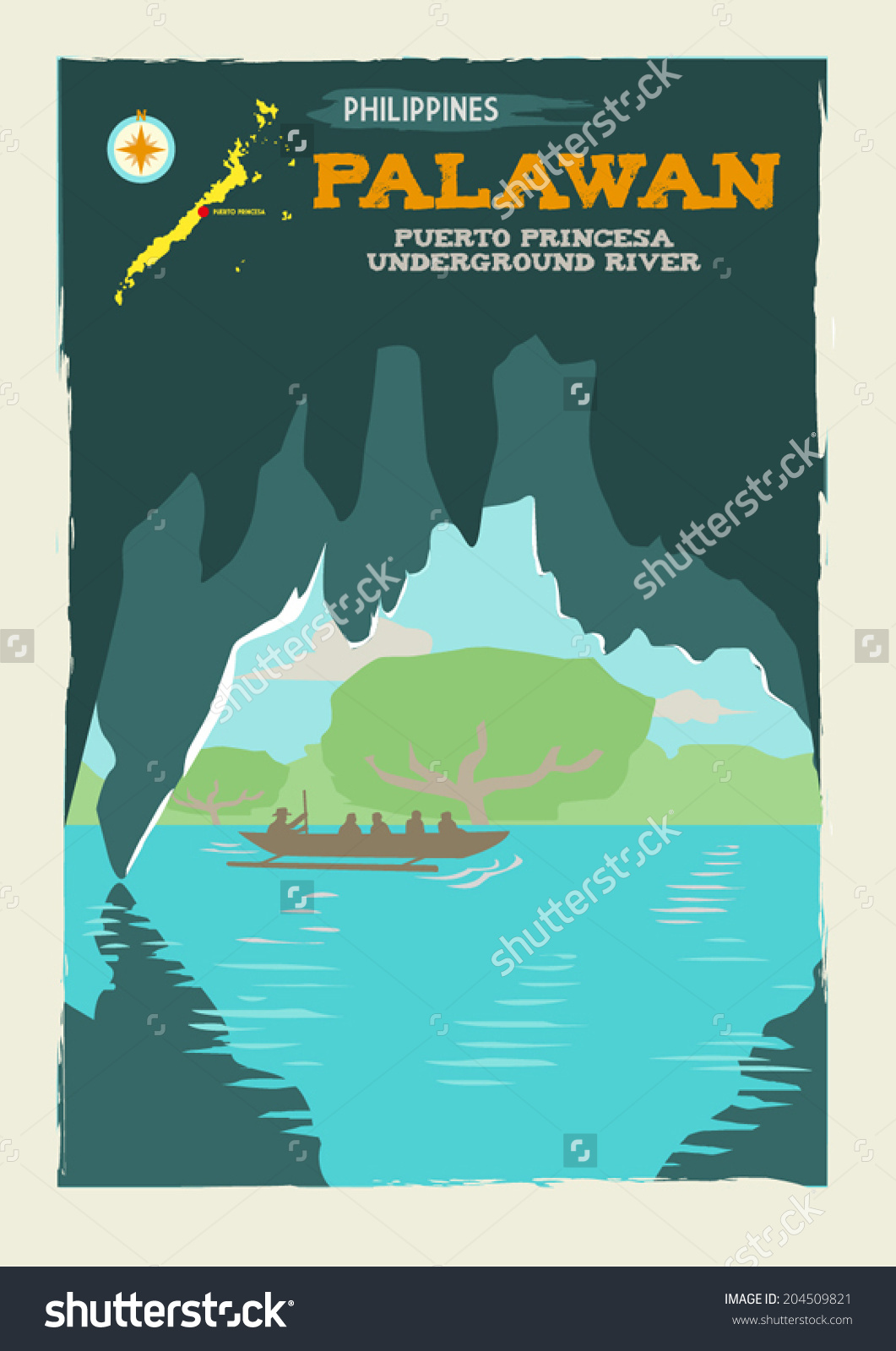 Puerto Princesa Underground River Palawan Philippines Stock Vector.