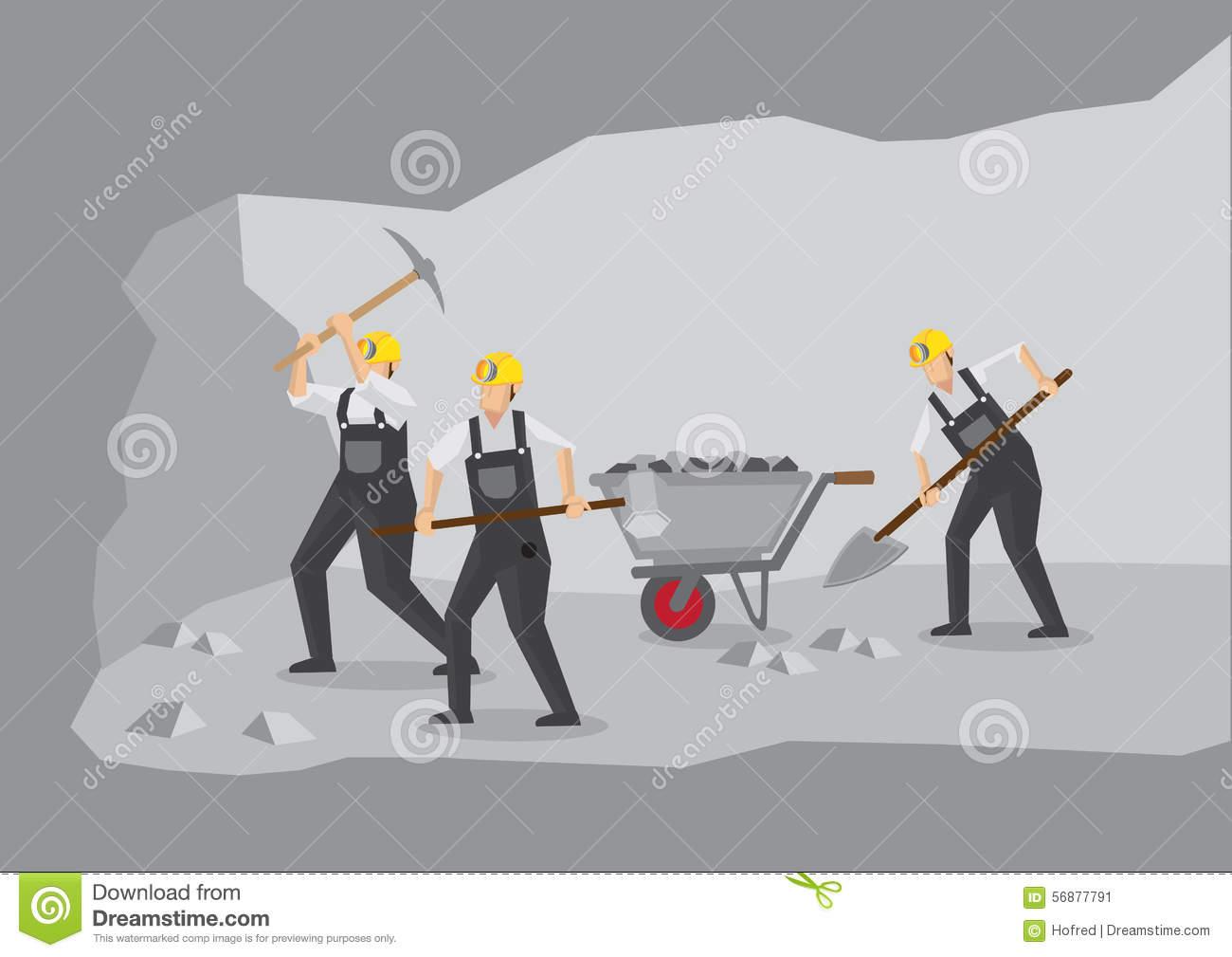 Coal Miners Working In Underground Mine Vector Illustration Stock.