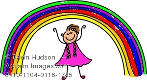 A Happy Little Girl Standing Underneath A Rainbow Clipart Image.