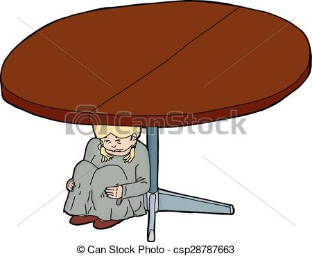 Clip Art Vector of Cartoon of Scared Girl Under Table.