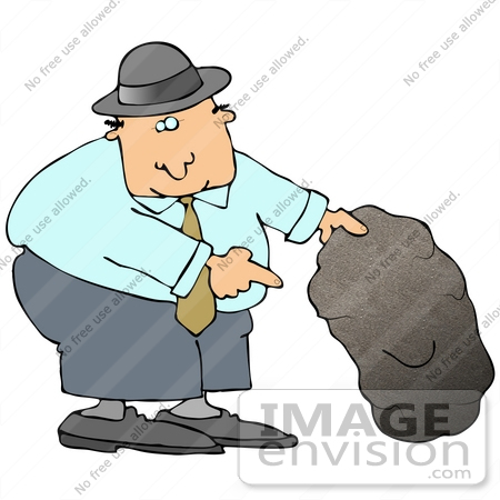 Clip Art Graphic of a Businessman Lifting a Boulder to Look.