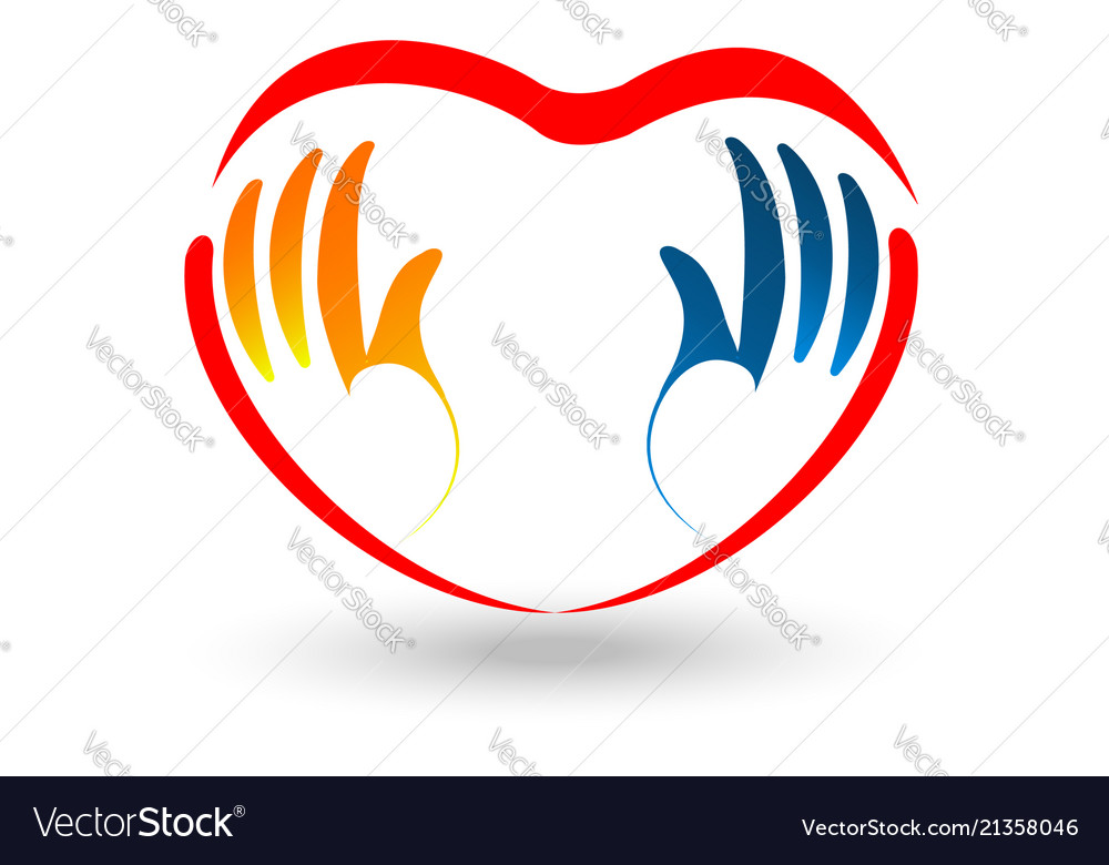 Valentine caring heart and hand logo.
