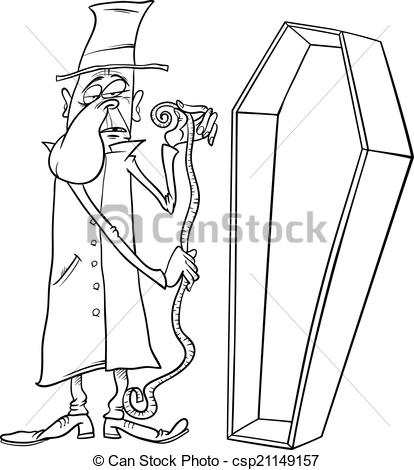 Clipart Vector of undertaker with coffin cartoon illustration.