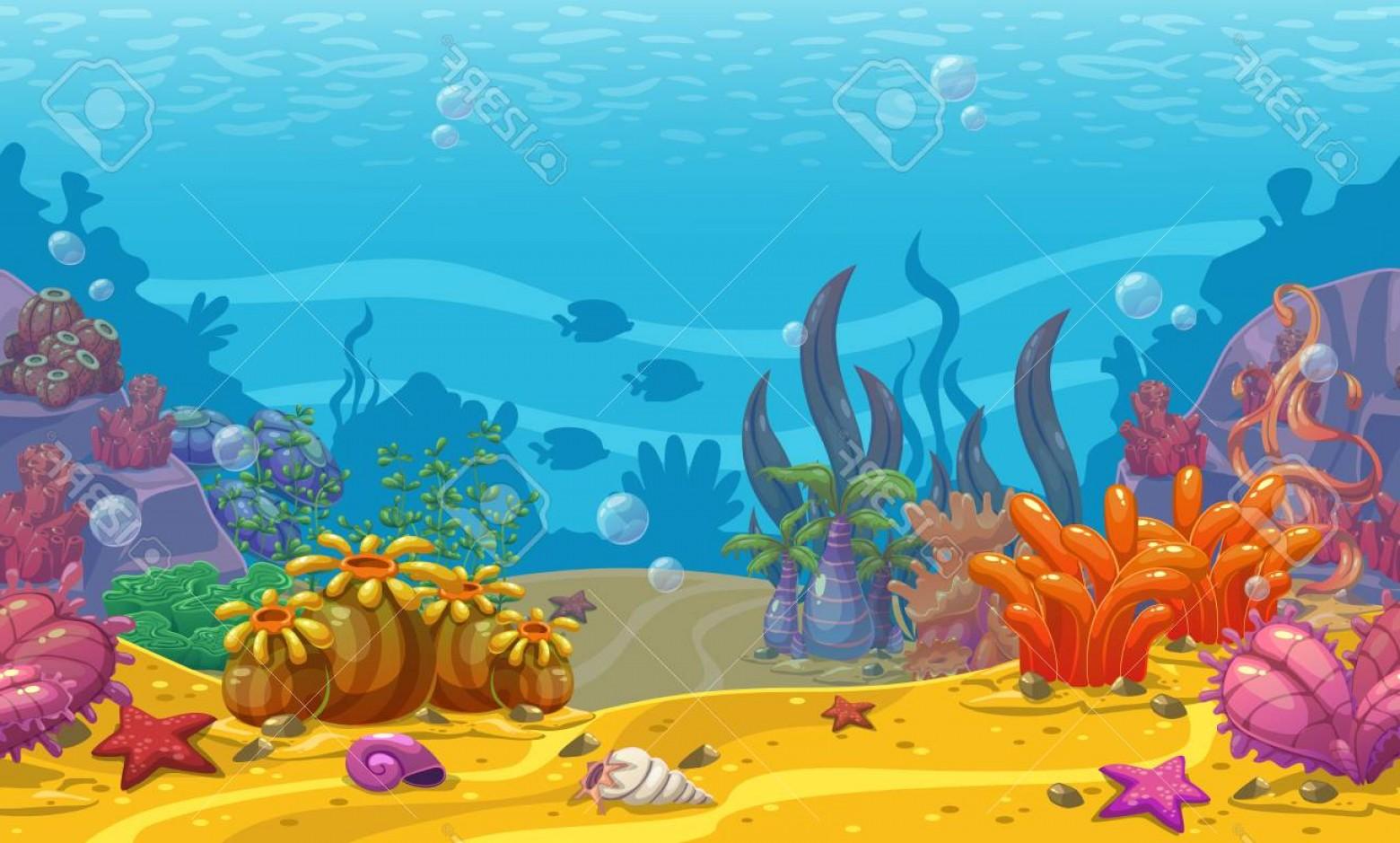 Photostock Vector Cartoon Seamless Underwater Background.