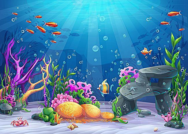 Vector Cartoon Ocean Underwater World Background Material.