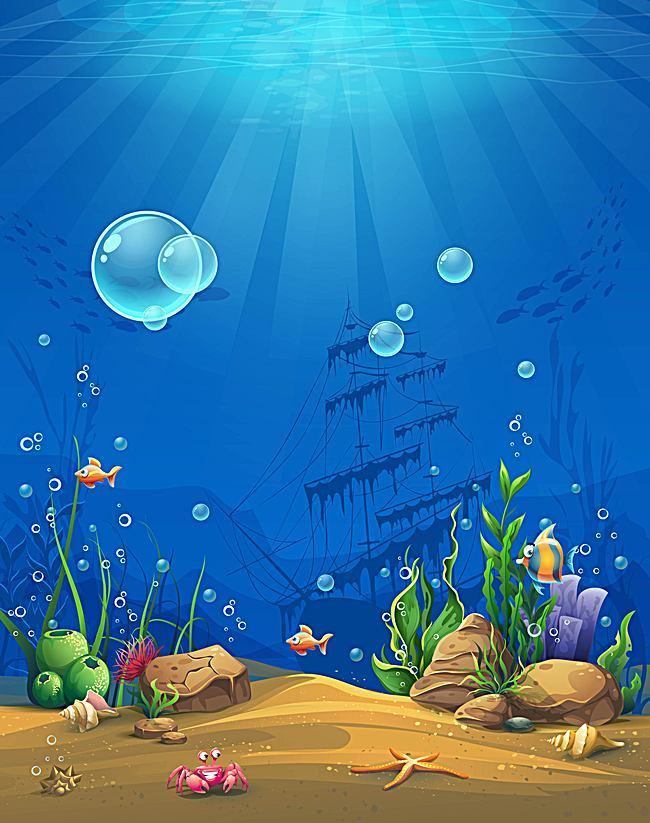 Vector Cartoon Underwater World Childrens Paintings.