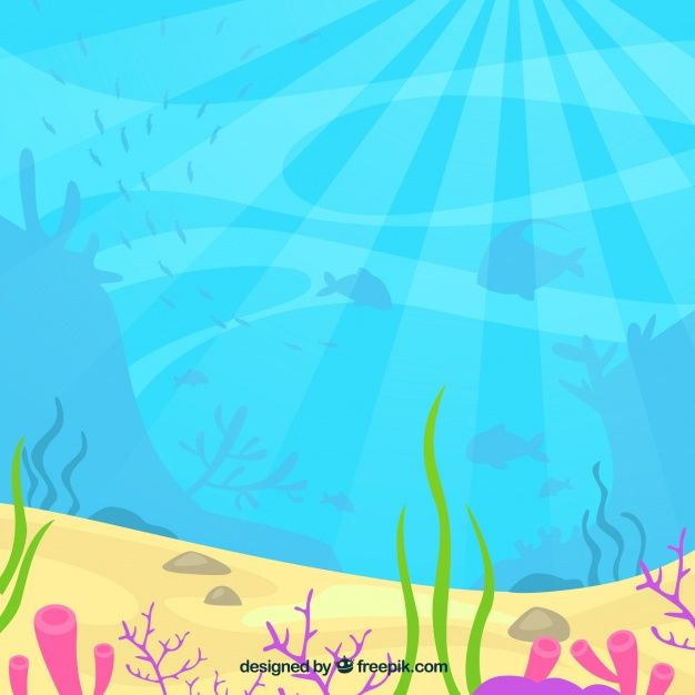 Underwater background with aquatic animals. Download.