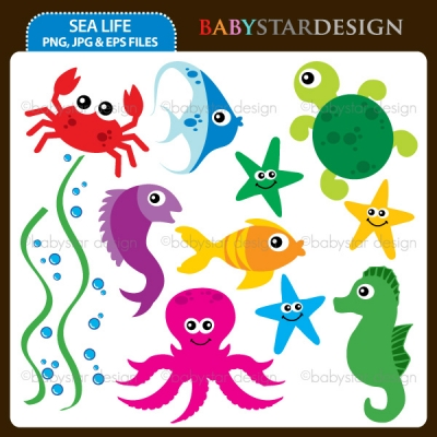 baby underwater animals clip art.