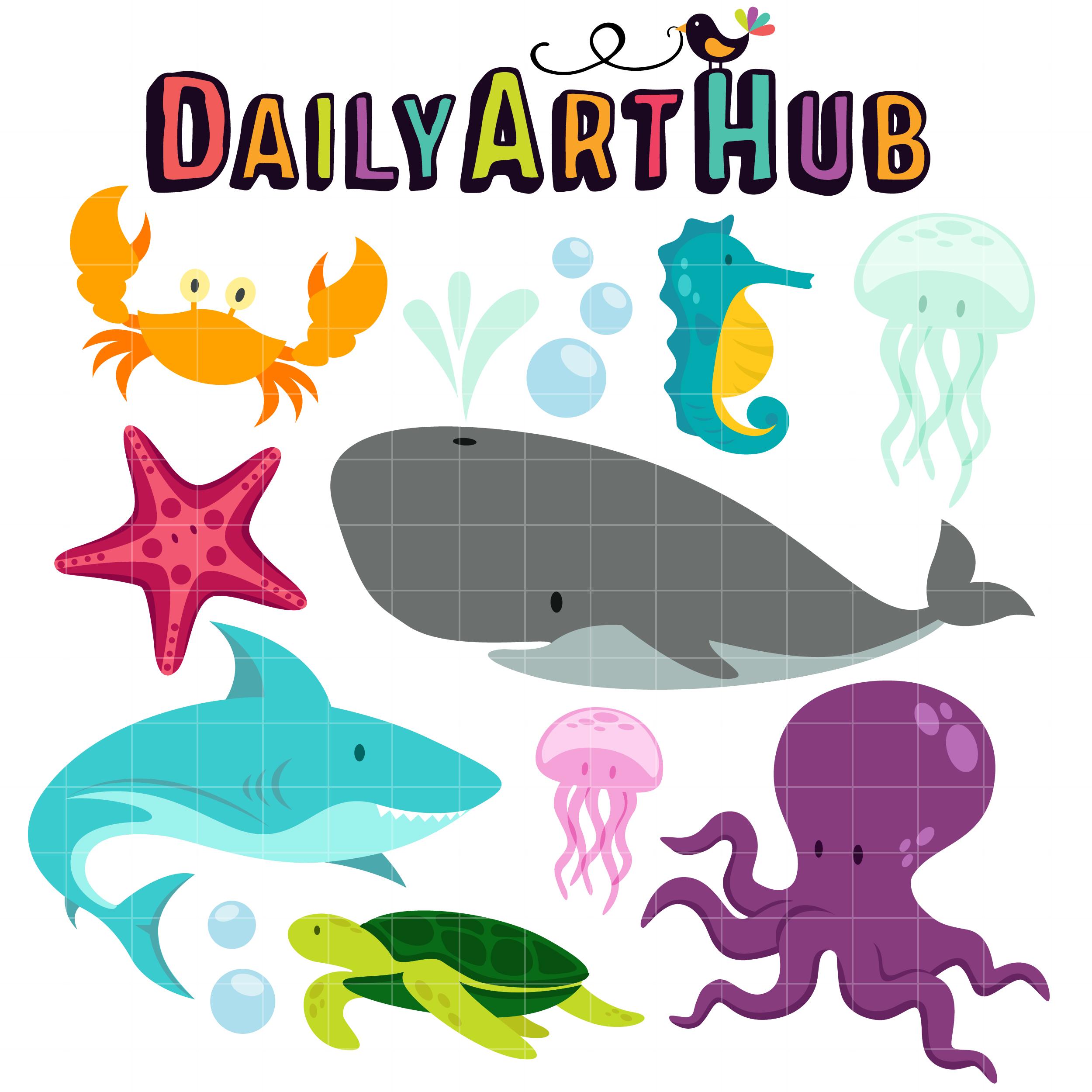 Underwater Creatures Clip Art Set.