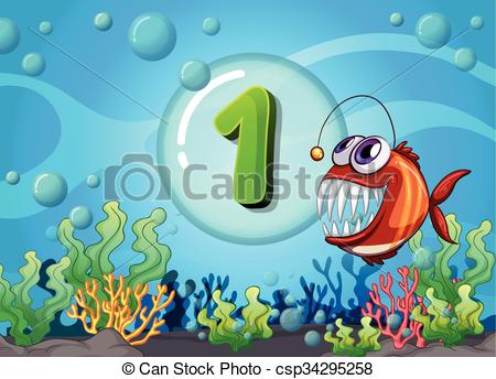 Clipart Vector of Flashcard number one with 1 fish underwater.