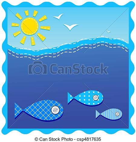 Clipart Vector of underwater. ocean and fishes..