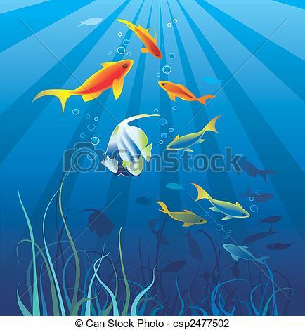 Clip Art of Underwater life, sea. Fish, seaweeds.