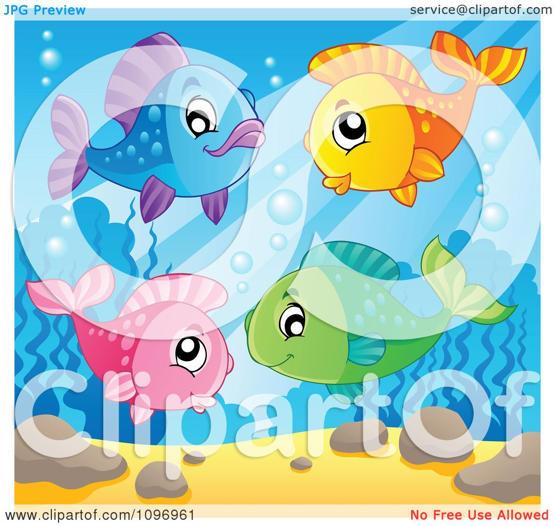 Clipart Happy Colorful Fish Underwater.