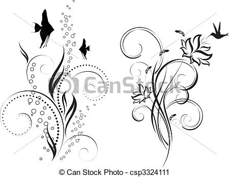 Vector Clip Art of floral design. Underwater ornament. Floral.