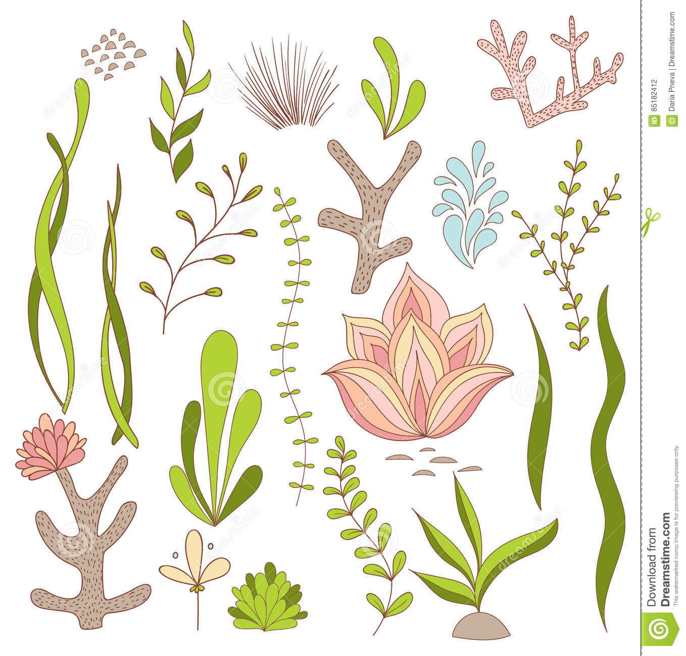 Set Of Underwater Whimsical Plants.