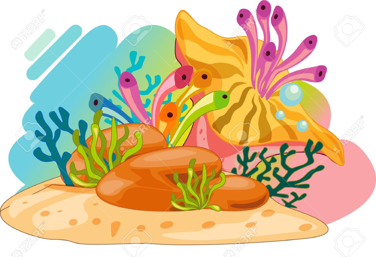 Colourful Ocean Plants And Bubbles Royalty Free Cliparts, Vectors.