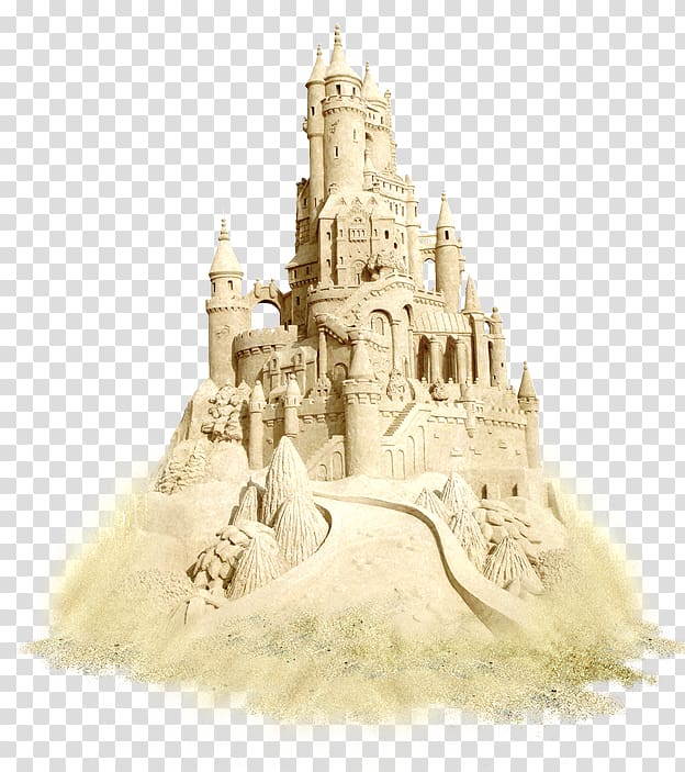 Sand art and play Castle , sand transparent background PNG.