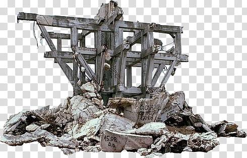 Pile of concrete slabs under ruins transparent background.