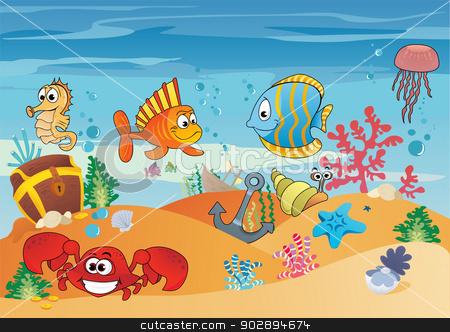 Underwater sea clipart.