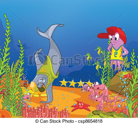 Vector Clipart of Ocean Underwater World Cartoon. Coral Reef with.