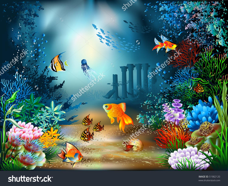 Underwater World. Child's Drawing. Stock Illustration ...  Underwater World Drawings
