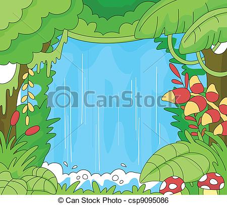 Clip Art Vector of Rainforest Scene.