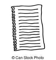 Hand drawn simple paper form, brush drawing notepad icon.