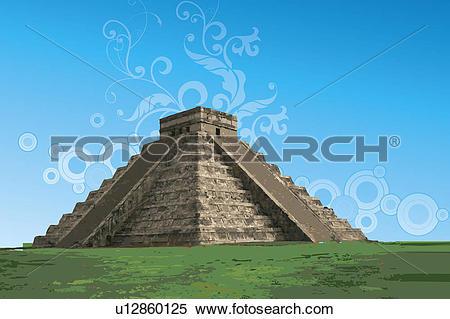 Stock Illustration of Mexico, Chichen Itza, Pyramid, UNESCO, World.