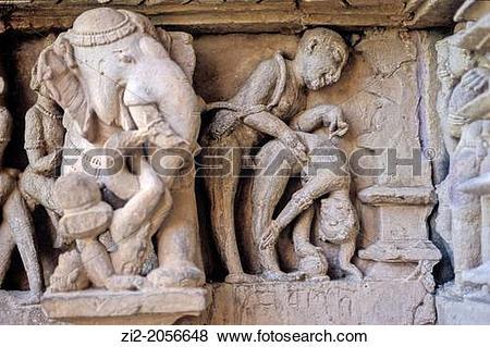 Pictures of Erotic frieze, Khajuraho Group of Monuments, UNESCO.