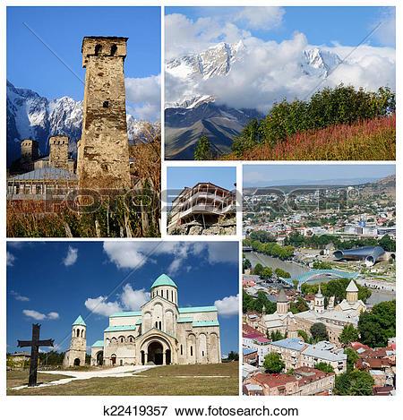 Picture of Collage of popular Georgia touristic landmarks, unesco.