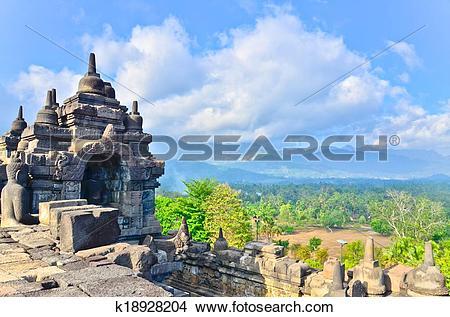 Stock Photo of Details in Borobudur unesco heritage site, Java.