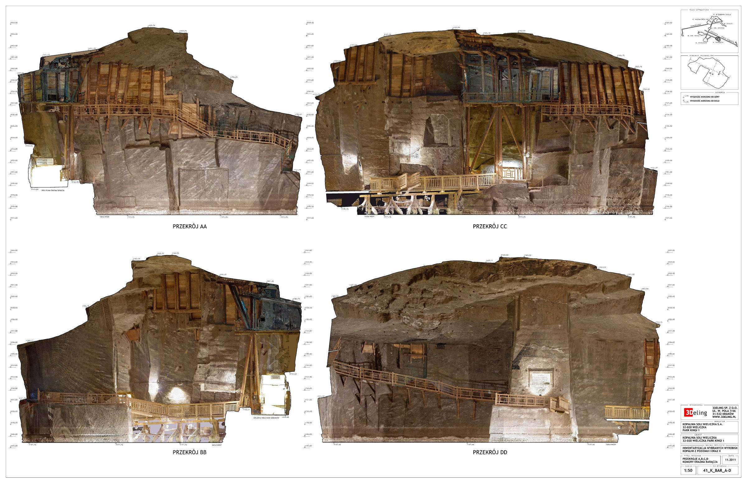 3D Laser scanning and 2d cad documentation of salt mines in Wieliczka.