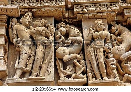 Stock Photo of Erotic sculptures, Khajuraho Group of Monuments.