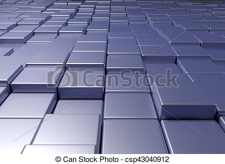 Clipart of wall of uneven tiles brick or cubes, 3d illustration.