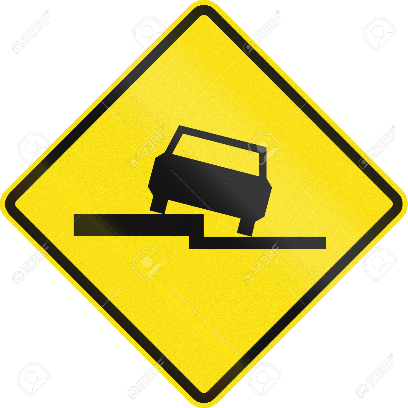 Warning Road Sign In Chile: Uneven Road. Stock Photo, Picture And.