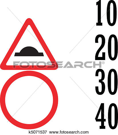 Clip Art of uneven road and blank speed limit k5071537.