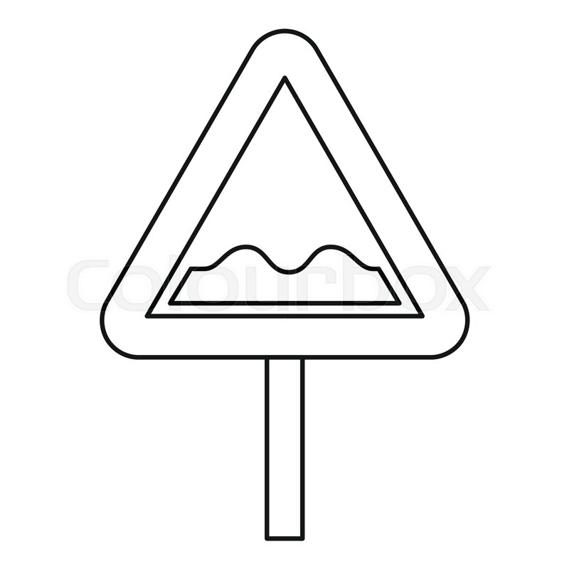 Uneven road sign icon. Outline illustration of uneven road sign.