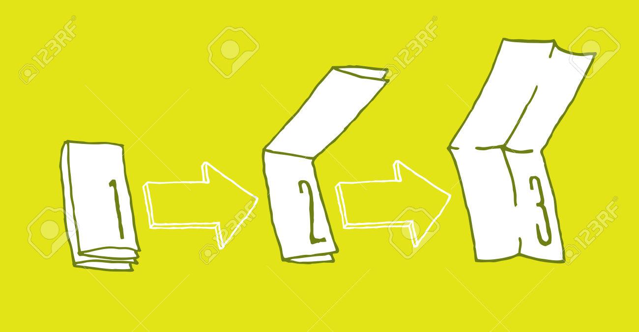 Cartoon Illustration Of Booklet Or Leaflet Unfolding In Three.
