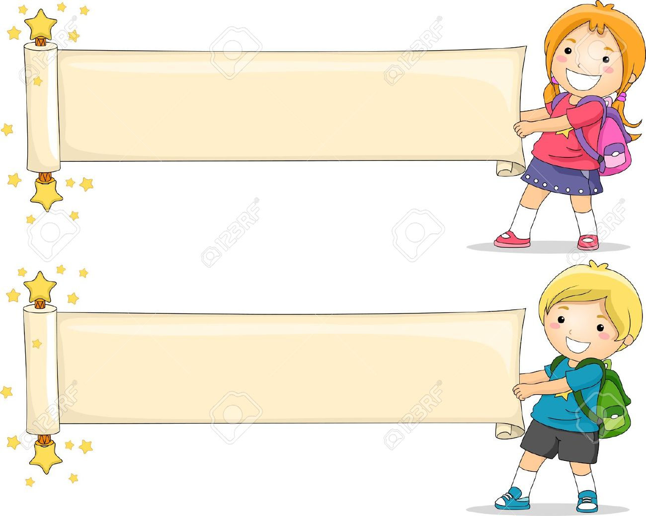 Illustration Of Kids Unfolding A Blank Paper Scroll Stock Photo.
